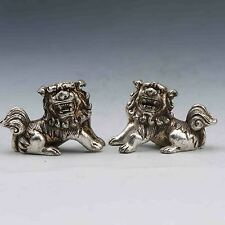A Pair Oriental Vintage Silver copper Hand Carved The lion Statue G781
