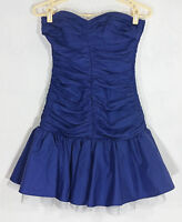 Betsey Johnson Evening Womens Dress Size 2 Strapless Blue Ruched Tulle Party