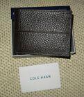 78 NWT Cole Haan Men's Pebbled Leather Slim Billfold Wallet Bifold Chocolate