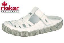 Damen Schuhe Rieker Slipper Pantolette Weiß Leder Hertha Sommer L0396-80