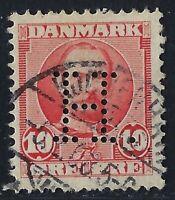 Denmark Perfin H08 - H.: Holmblad & Co.'s (1907-1914), 10 ore Carmine, RF: 600