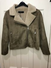 ZARA Suede Effect Jacket Biker Jacket /Coat Taupe Grey  BNWT SIZE XL