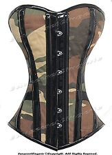 Full Steel Boned Heavy Lacing Camouflage Camo Overbust Shaper Corset #HC9062