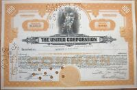 1950 Stock Certificate: 'The United Corporation' - Orange