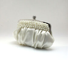 UK Cream Satin Evening Prom Clutch Wedding Bridal Bag 16WTo Fast Delivery