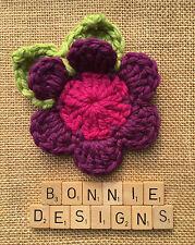 Leaves Cerise/Plum/Lime boho chic 15cm HandCrochet Flower Corsage Chunky