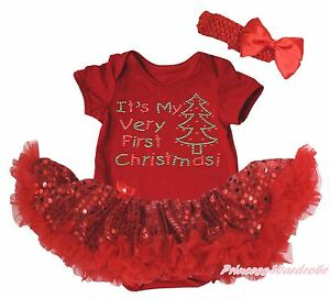 My Very First Christmas Tree Red Bodysuit Girls Bling Sequins Baby Dress NB-18M