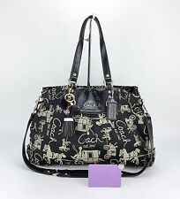 Coach 15656 Ashley Horse & Carriage Black Gray Signature Convertible Bag Purse