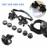 10X 15X 20X 25X MAGNIFIER DOUBLE LENS EYE GLASSES LED LOUPE JEWELER WATCH REPAIR
