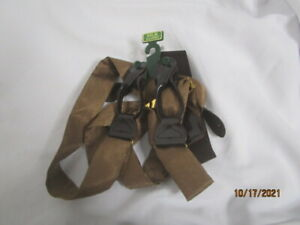 Men's Wearhouse Light Brown Silk Suspenders Braces X Long Button On NEW