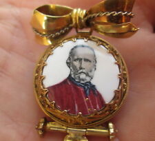 spilla pendente fine 800 oro giallo-Garibaldi- miniatura in porcellana AUTENTICA