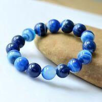Natural Sea Sky Blue Agate Gemstone Bead Men Women Lucky Energy Charm Bracelet