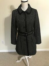 Coat Ladies Sz 6 Black/white Polka Dot Belted Trench Button Up Import Black Trim