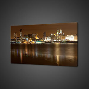 LIVERPOOL NIGHT CITYSCAPE PANORAMA CANVAS PRINT WALL ART PICTURE PHOTO