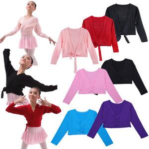 Toddler Girls Dance Tops Short Cardigan Ballet Wrap Sweaters Gym Shawl Dancewear