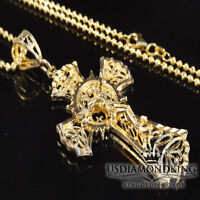 10k BIG REAL YELLOW GOLD CRUCIFIX CROSS+FREE STERLING SILVER CHAIN NECKLACE SET