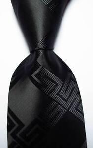 New Classic Black Checks JACQUARD WOVEN 100% Silk Men's Tie Necktie