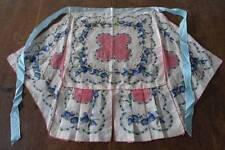Vintage 50s Half Kitchen Apron Pink Handkerchief Blue Floral Hanky Ribbon