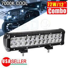 72W 12inch Spot Flood Combo LED Work Light Bar Offroad Fog 4WD SUV UTE ATV Car