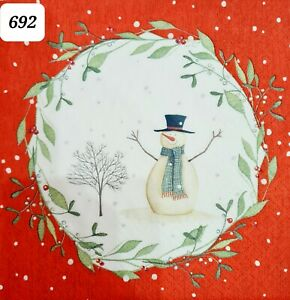 5x Single Table Paper Napkins,Decoupage/Craft/Vintage/Christmas/ Snowman