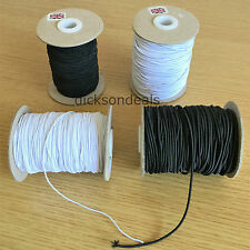 6m Metres Round Elastic Cord for Hats Beading, Crafts Black White 1mm 2mm or 3mm