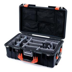 Black & Orange Pelican 1535 Air case with lid organizer & grey CVPKG dividers.