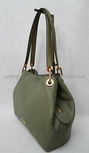 NWT Michael Kors 30H6GRXE3L Raven Large Leather Hobo/Shoulder Bag in Army Green