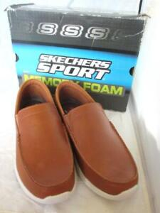 Men Size 8.5.M Skechers Tan Leather Loafers Memory Foam Relaxed Fit Air Cooled