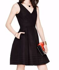 NEW Kate Spade Pleated Hem Silk Cotton Dress in Black Size 10 $478 RARE SOLD OUT