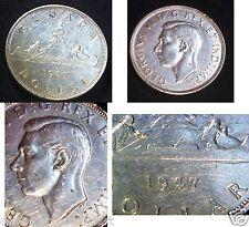 Canada 1947 BLUNT 7 SILVER DOLLAR