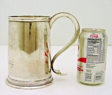 George II English Sterling Silver Tankard hallmarked IE IA  Armorial Crest 1697