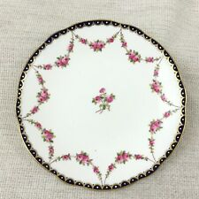 Antique Porcelain Cake Plate Pink Rose Flower Garland Swags Chintz Fords China