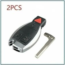 Set Of 2 For Mercedes-Benz C E CL CLK 4 Button Remote Key Smart Blade+Chip Kit