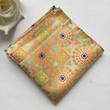 F115 orange green geometric hanky silk man handkerchief wedding pocket square