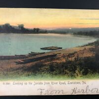 PA Postcard River Road LEWISTOWN PA Vtg Mifflin County Antique 1909 Vintage Old