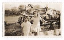 PHOTO ANCIENNE Automobile Voiture Auto Américaine USA Vers 1940 Deux Filles