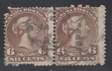 "Canada PAIR of Scott #27 6 cent dark brown  ""Large Queen""  HCV $400"