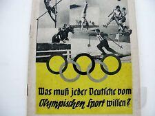 """Olypiade 1936 Berlin - Heft OLYMPIA """" Was jeder Deutsche ..."""" 1936 ..."""