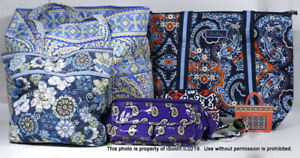 LOT VERA BRADLEY TOTE BAGS, COOLER, COSMETIC CASE, HAIR ACCESSORIES