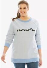 Woman Within Staycation Sweatshirt Womens 5X 34/36 Blue White Cotton Poly Fleece