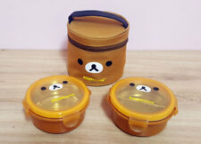 Rilakkuma Stainless 2 Layers Round Bento Lunch Box Food Container With Bag 9.1Oz
