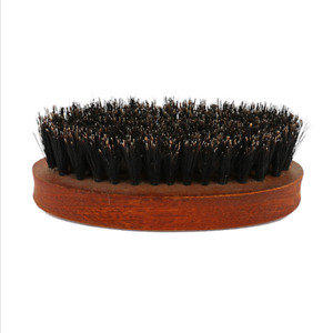 Men's Portable Boar Hair Bristle Beard Mustache Brush Palm Round Wooden Handle
