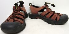 KEEN WOMENS RED LEATHER ELASTIC CORD SPORT LACES CLOSED TOE SANDALS SZ 8 EUC