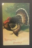 1907 New Pinecreek OR To Fort Bidwell CA  Embossed Thanksgiving Postcard Cover
