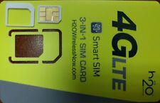 NEW H2O SIM Cards Wireless 3-in-1 Triple STANDARD/Micro/Nano 4G LTE Smart SIM.