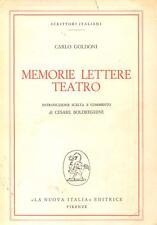 MEMORIE LETTERE TEATRO GOLDONI CARLO  NUOVA ITALIA ECCELLENTE.