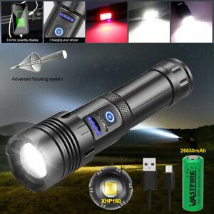 Super Bright XHP160 Torch Led Flashlight USB Rechargeable Tactical light COB