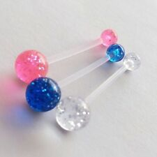 Set of 3 Pregnancy Maternity Glitter belly bars PTFE Pink Clear & Blue cheapest