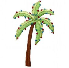 """Palm Tree Applique Patch - Christmas, Holiday Lights 3.25"""" (Iron on)"""