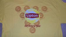 """NWOT Yellow LIPTON TEA T-Shirt """"be more tea"""" iced Keurig Green Size Large"""